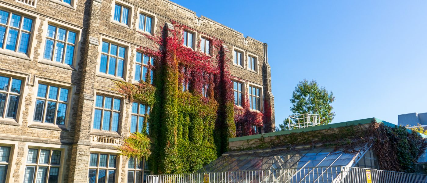 Ivy Growing on Hamilton Hall with View of Greenhouse